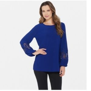 DENNIS BASSO• CREPE TUNIC W/ LACE-TRIMMED SLEEVES